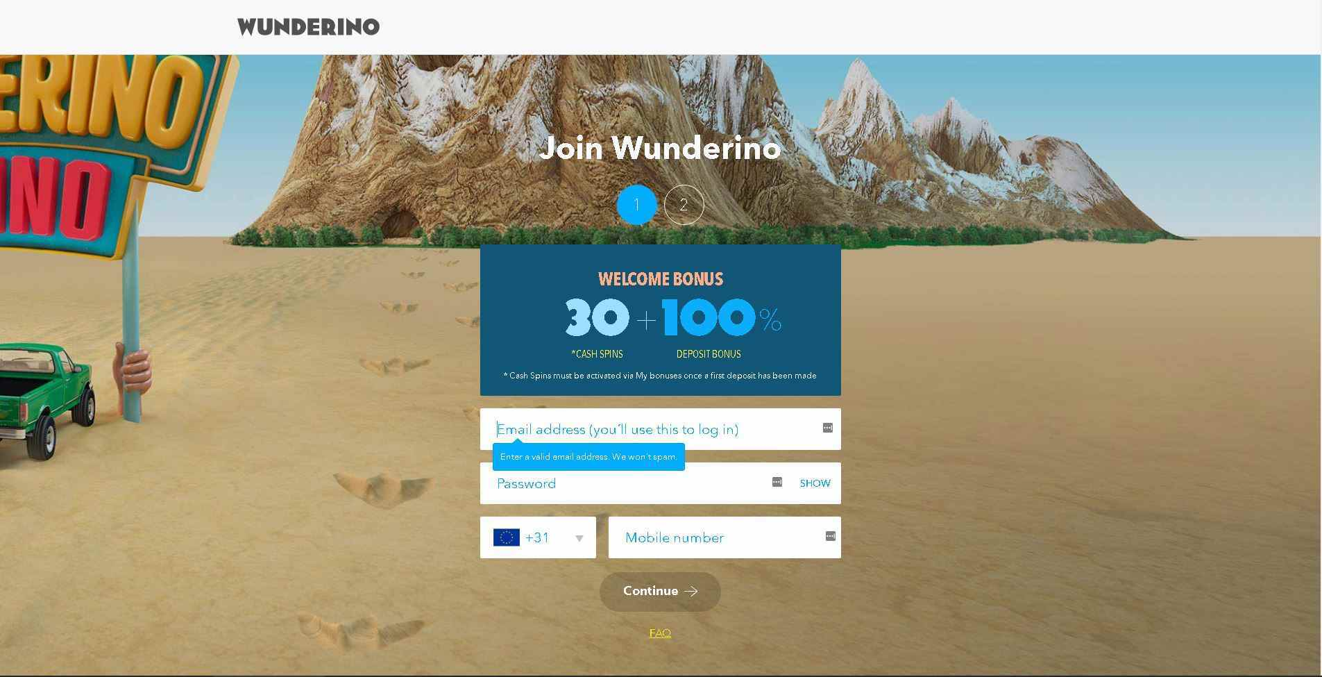 Wunderino Registration