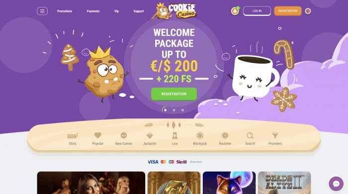 Cookie Casino Homepage