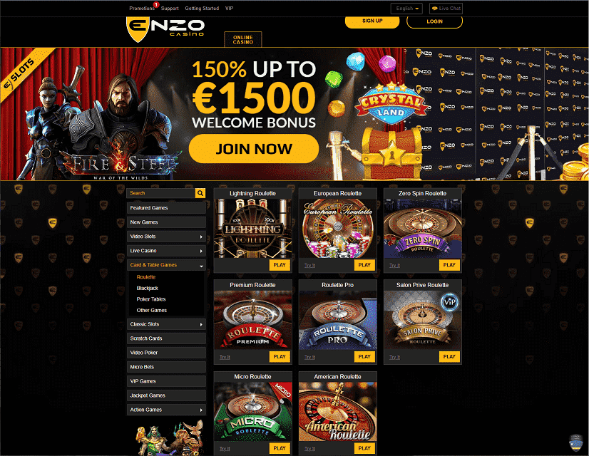 Enzo Casino Live Games