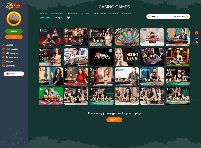 Monte Cryptos Live Casino