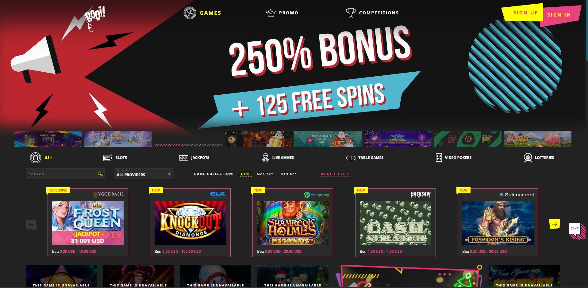 Booi Casino Homepage