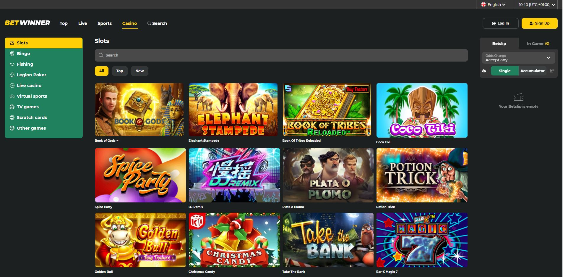 BetWinner Casino Homepage Screenshot