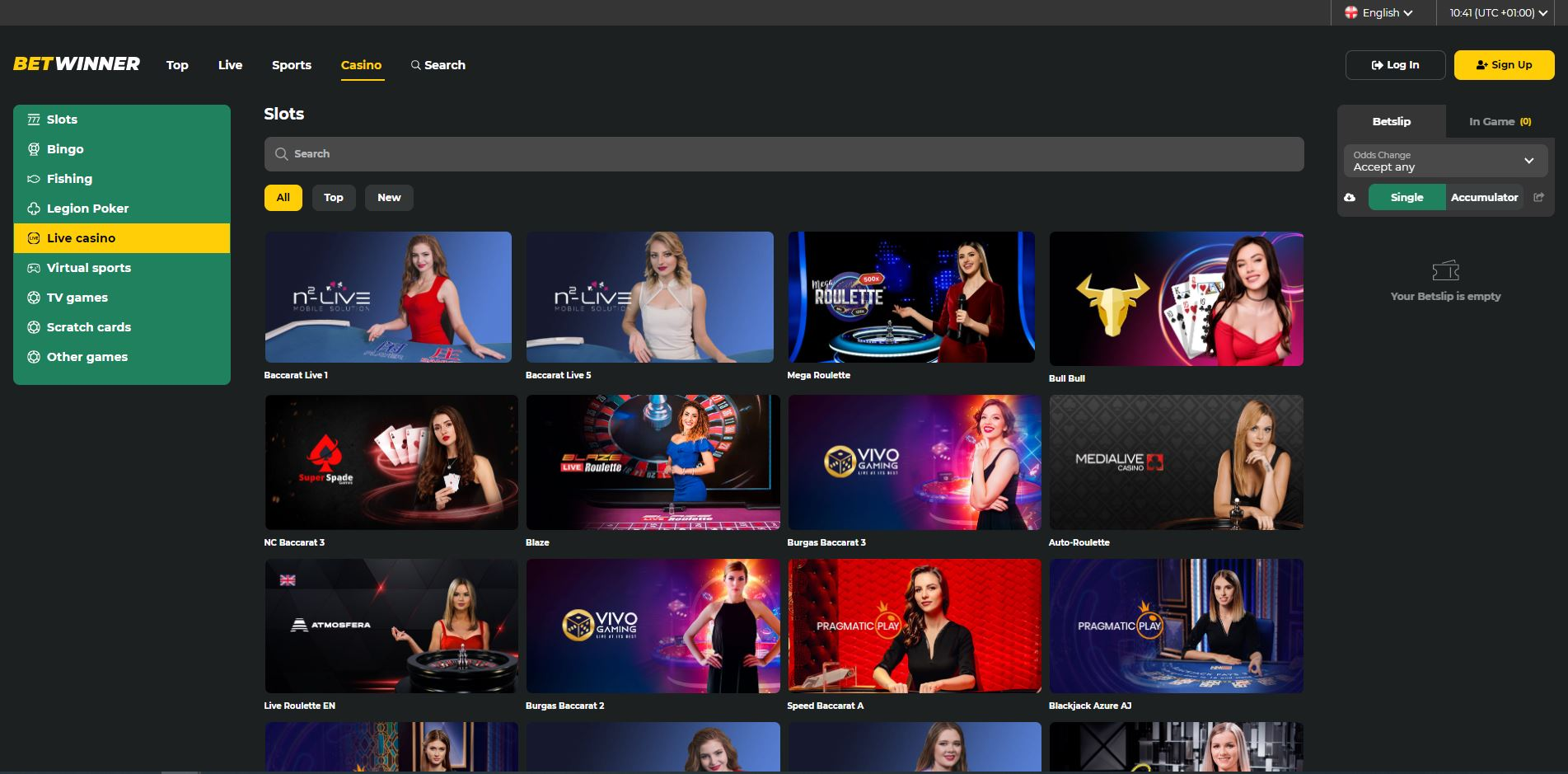 BetWinner Live Casino Screenshot