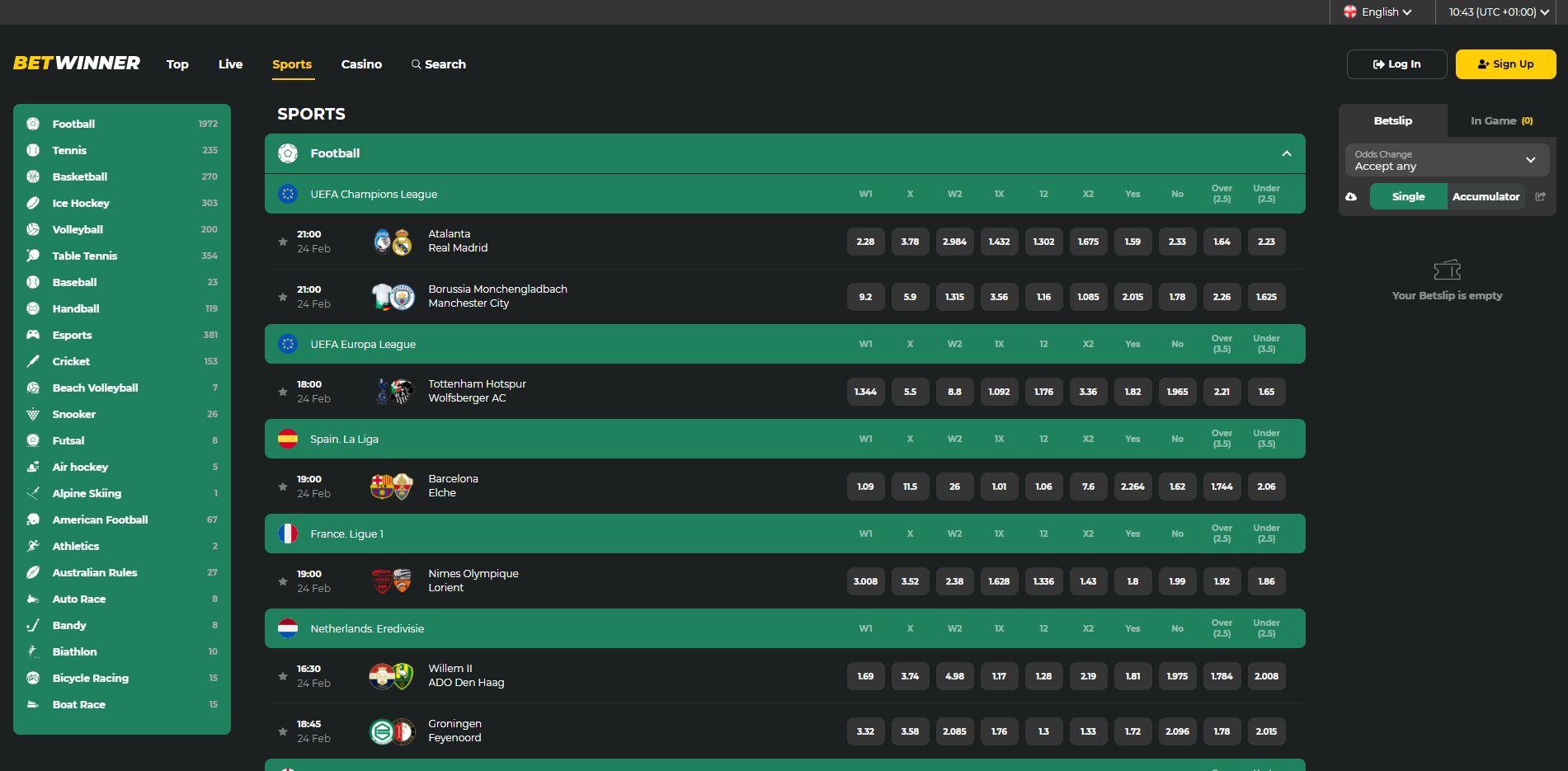 BetWinner Sportsbook Screenshot