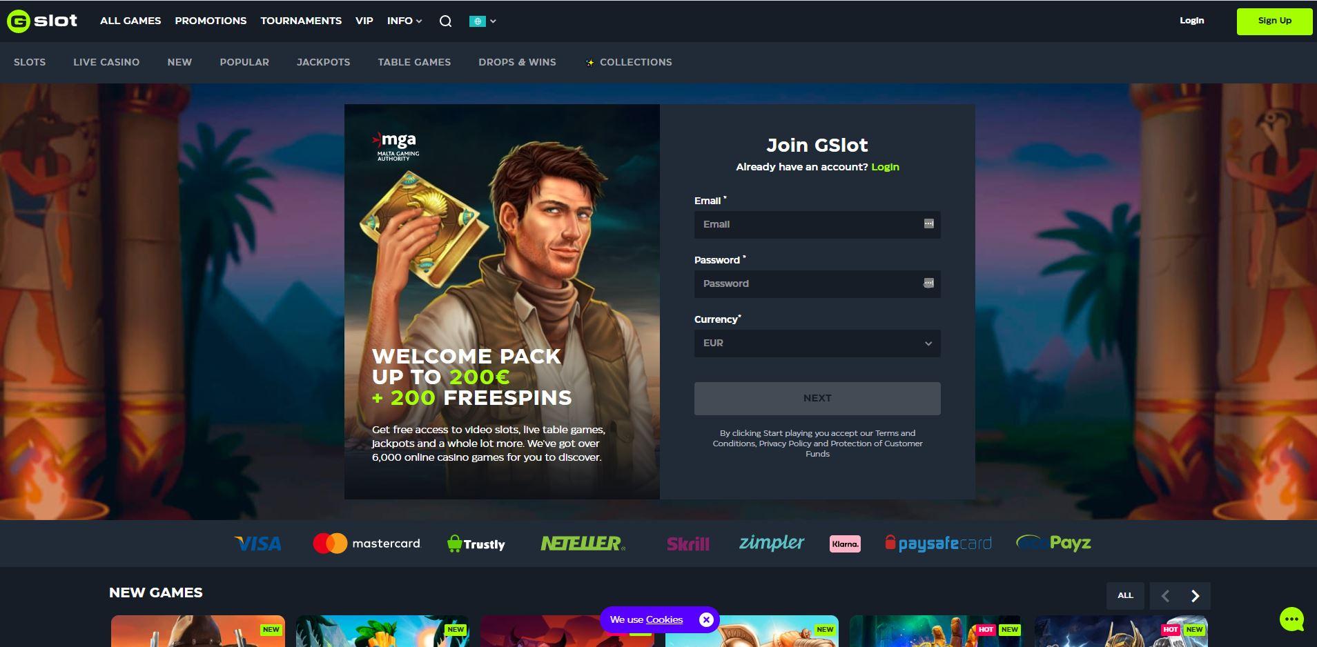 Gslot Casino Homepage Screenshot