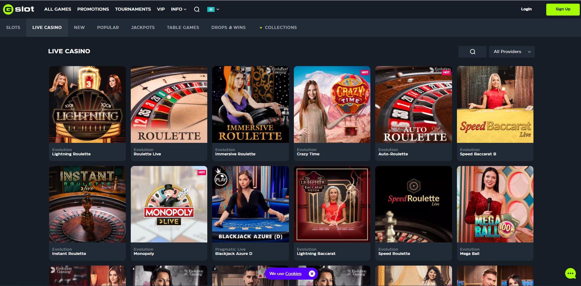 Gslot Casino Live Games Screenshot