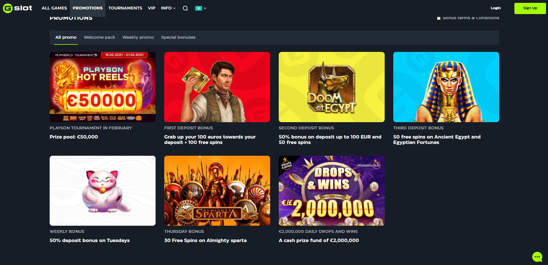 Gslot Casino Promotions Screenshot