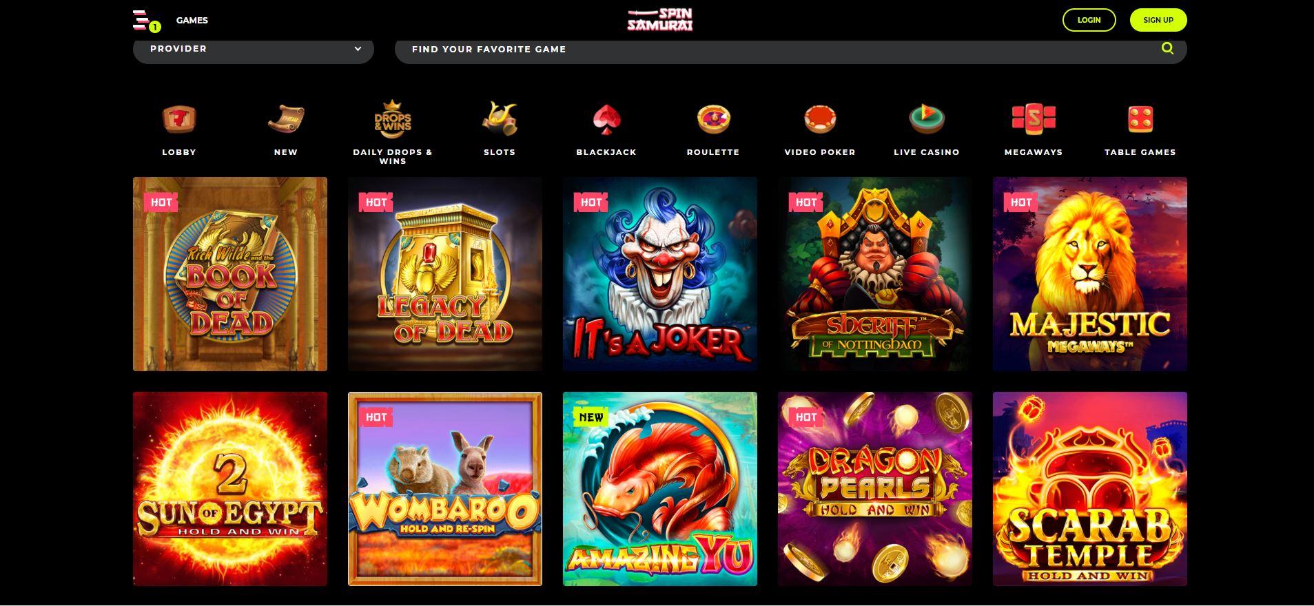 Spin Samurai Casino Games Screenshot