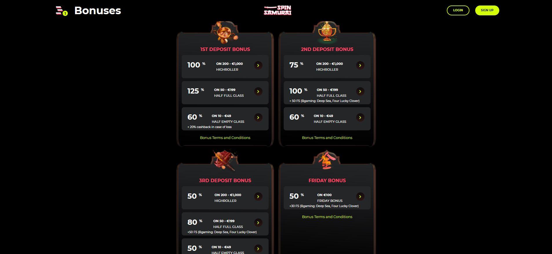 Spin Samurai Casino Promotions Screenshot