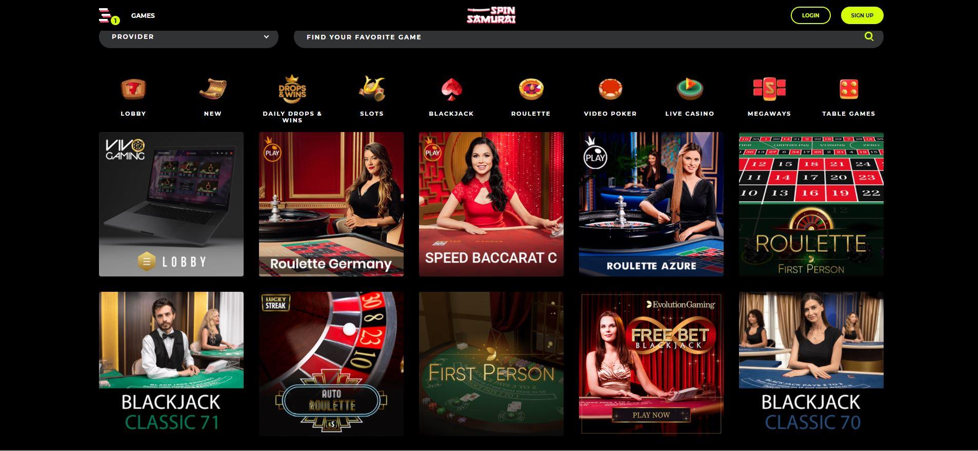 Spin Samurai Live Casino Screenshot