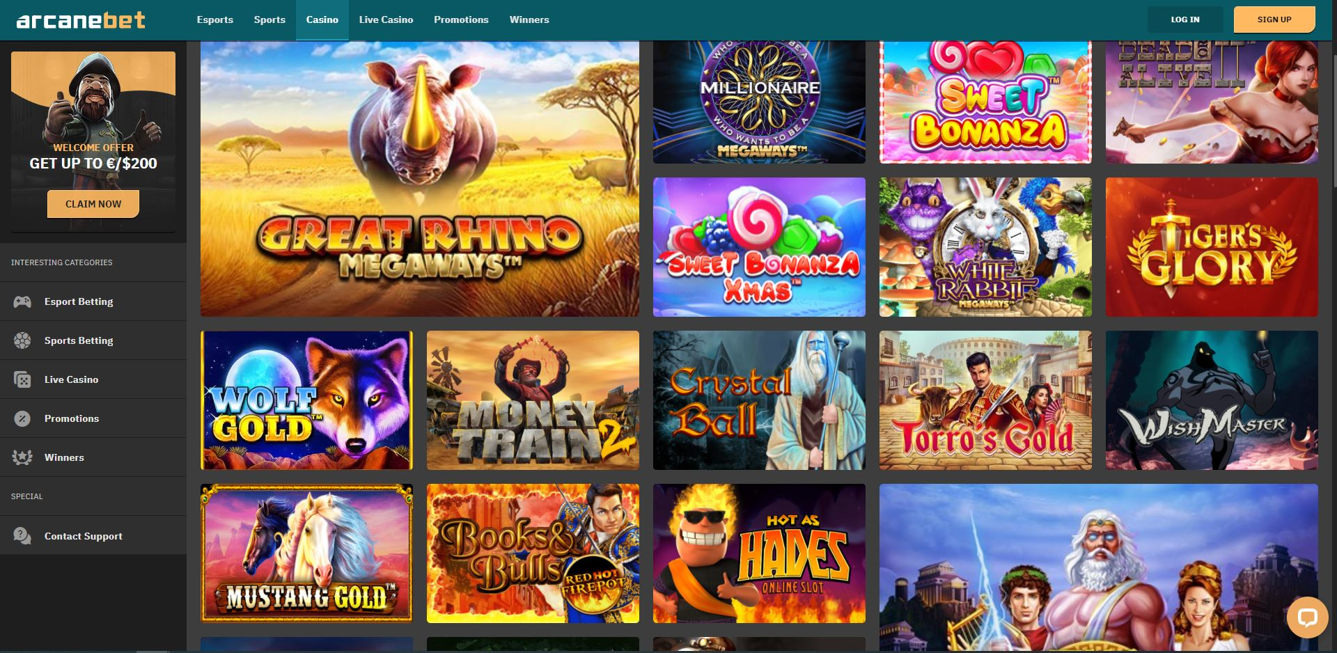 ArcaneBet Casino Games Screenshot