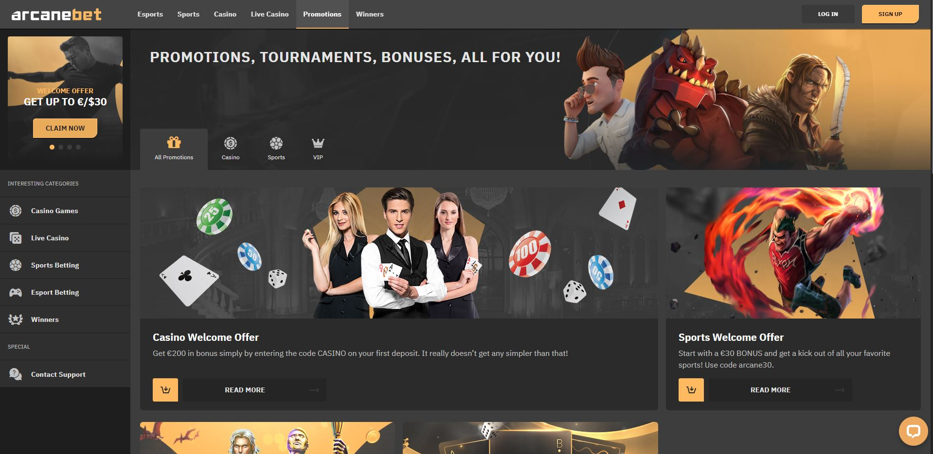 ArcaneBet Casino Promotions Screenshot
