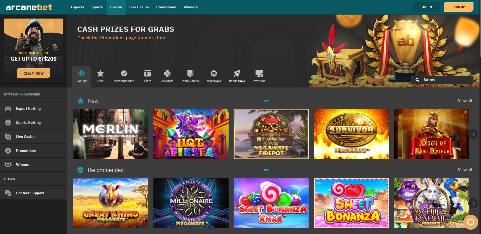 ArcaneBet Casino Homepage Screenshot