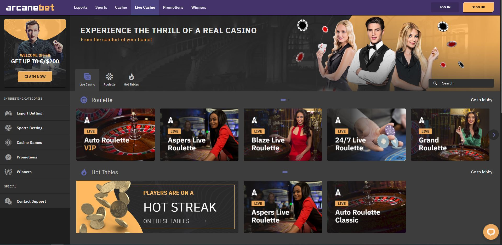 ArcaneBet Casino Live Screenshot