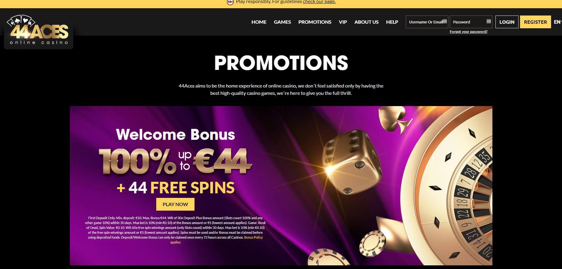 44Aces Casino Welcome Bonus