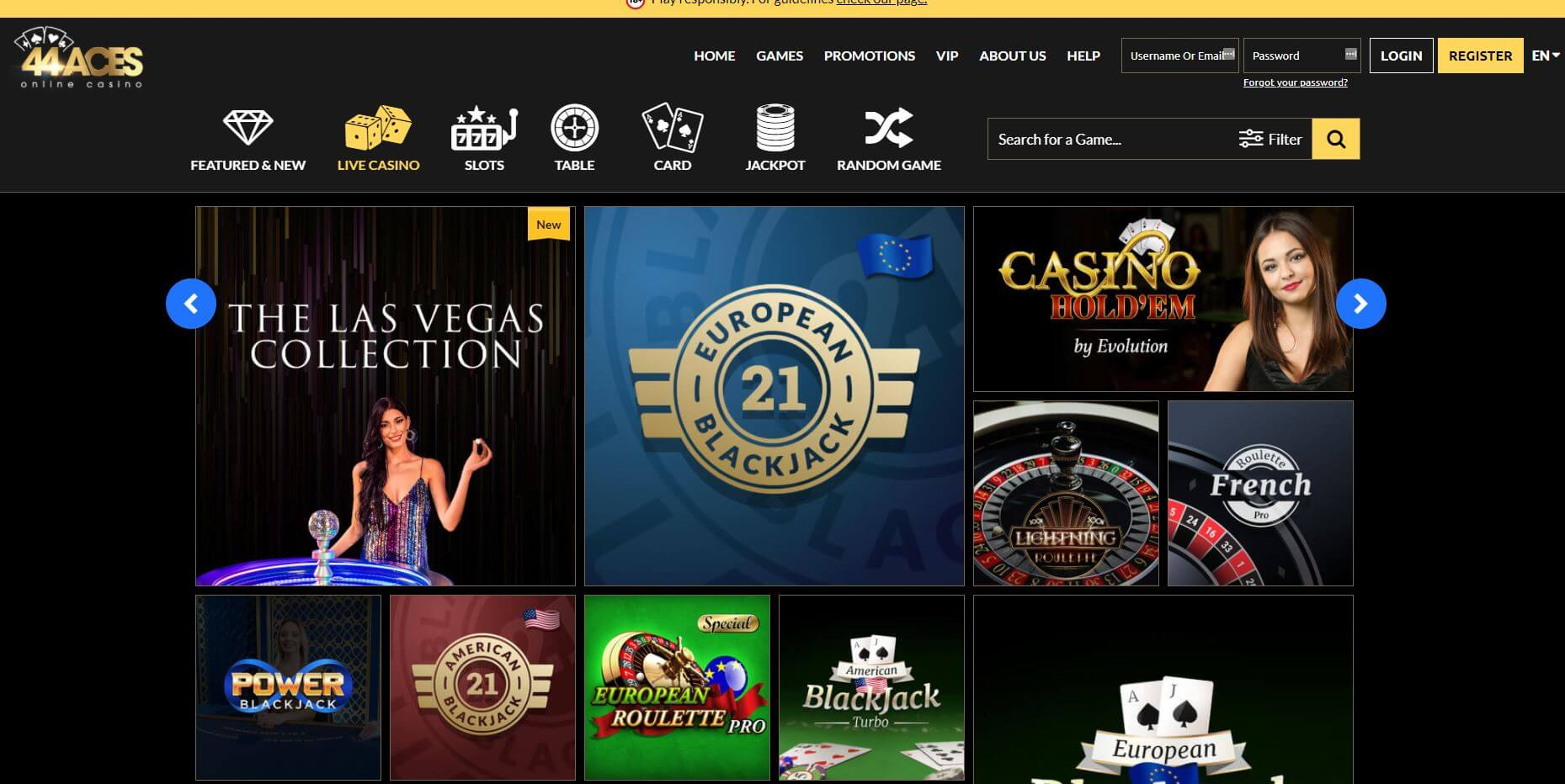 44Aces Live Casino