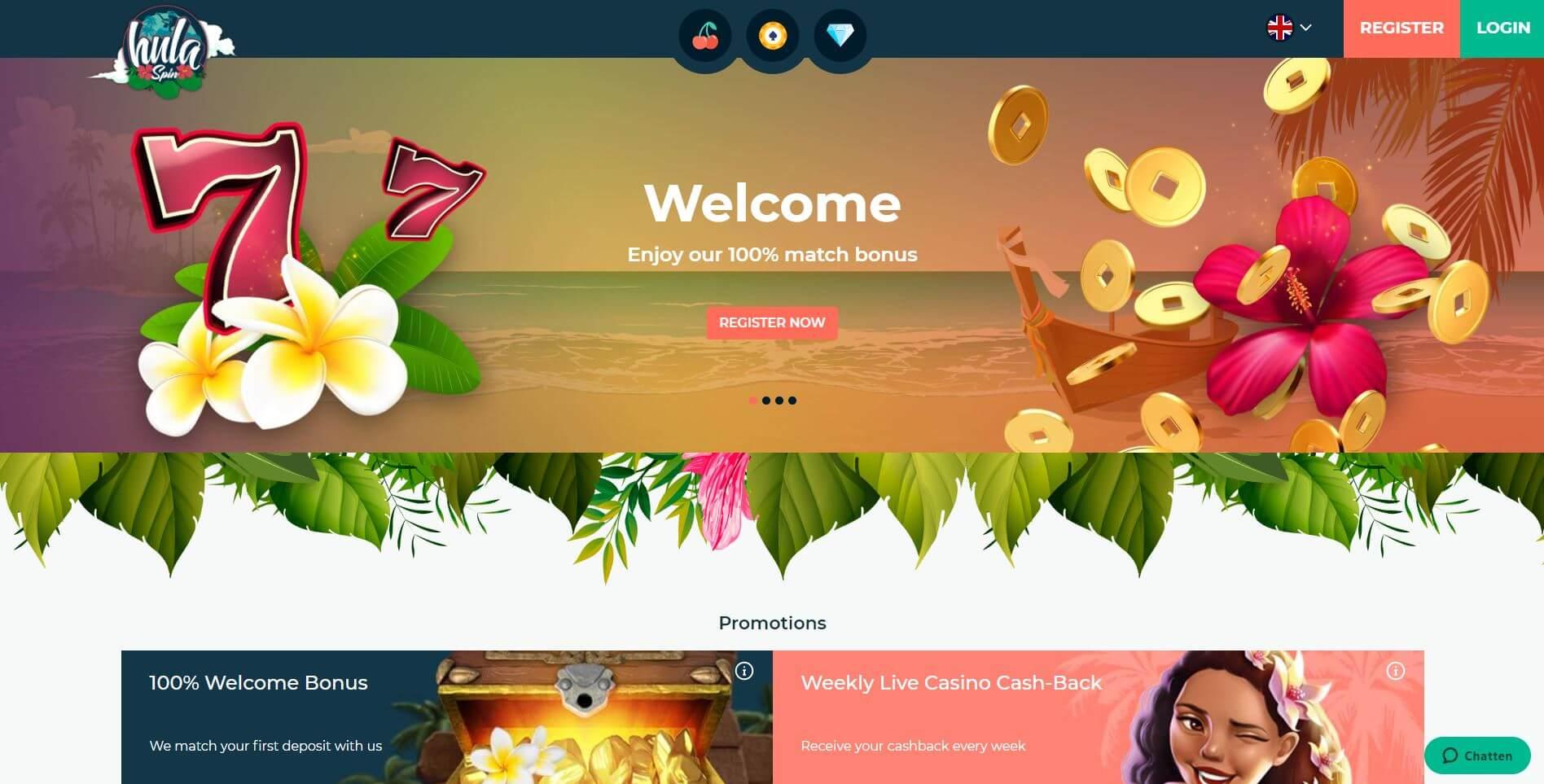 Hulaspin Casino Homepage