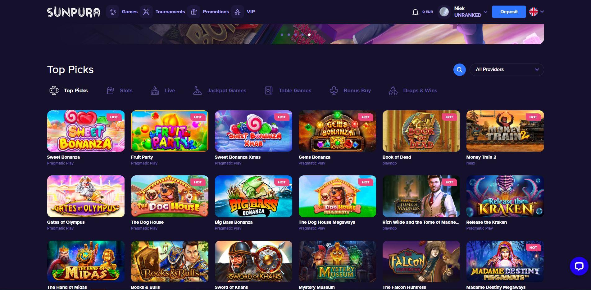 Sunpura Casino Homepage Screenshot