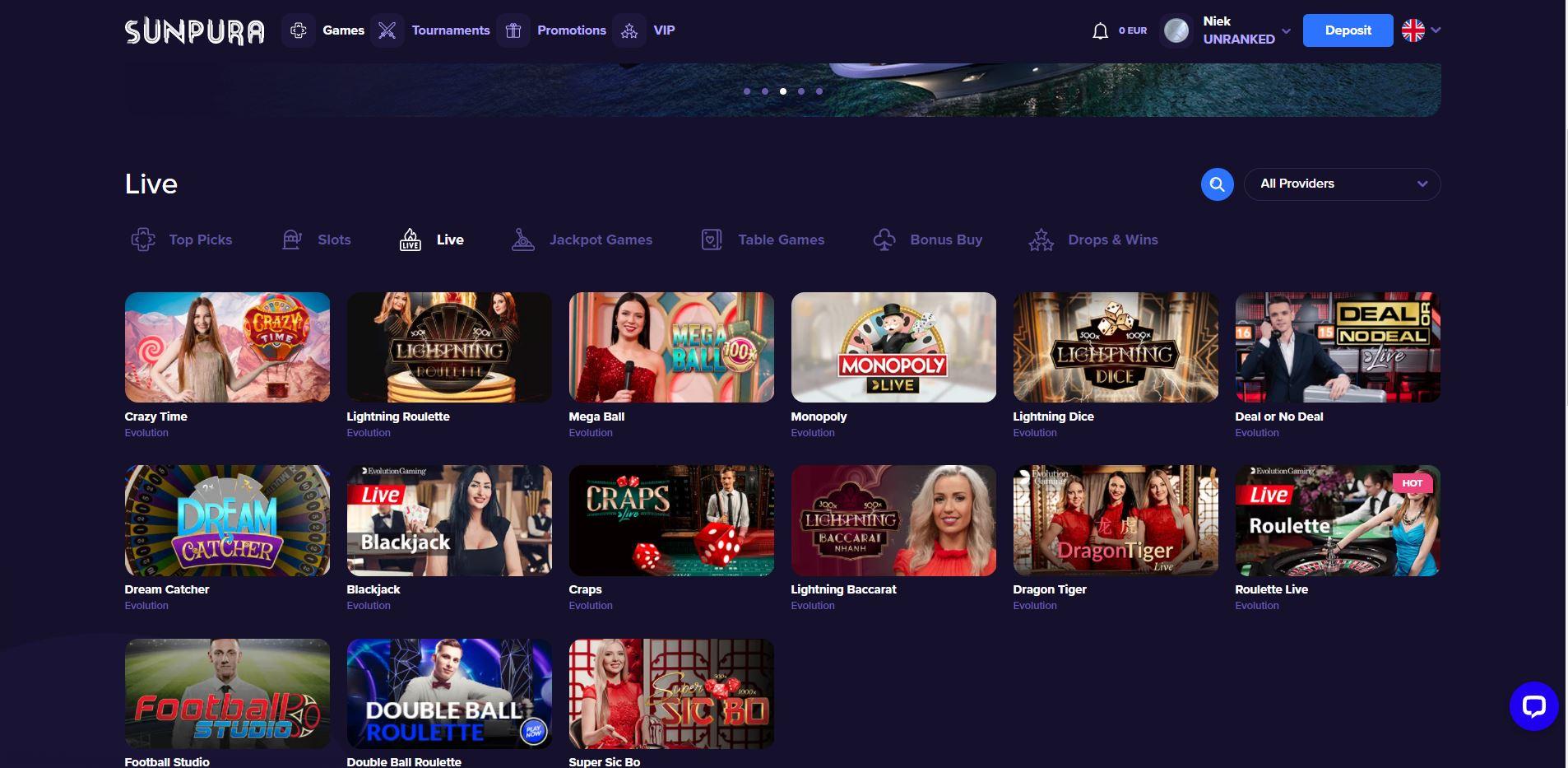 Sunpura Live Casino Screenshot