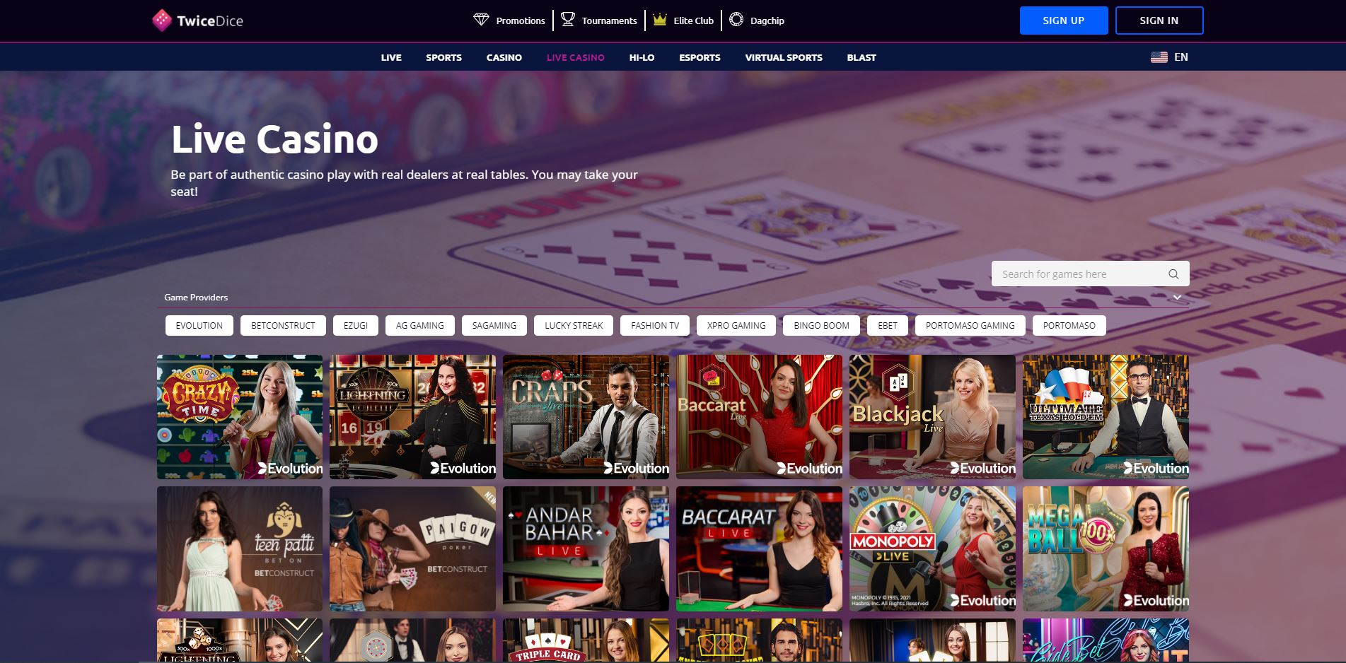 TwiceDice Live Casino Screenshot