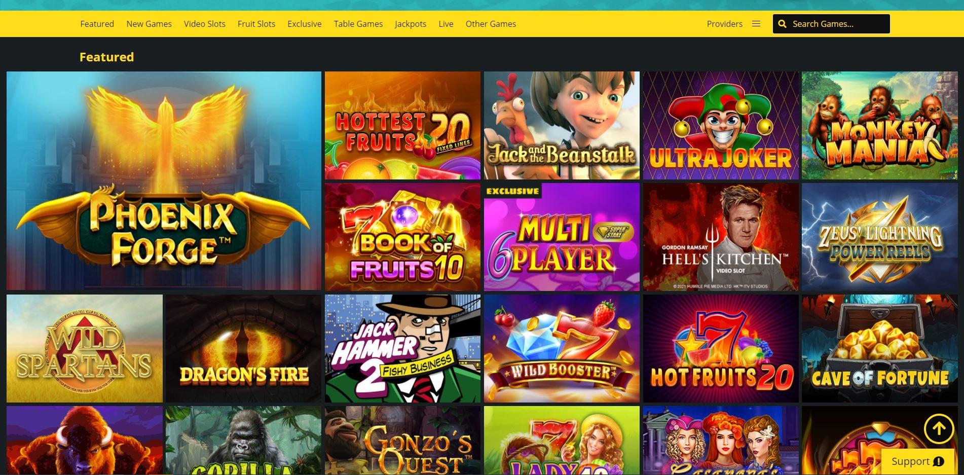 Whamoo Casino Homepage Games Screenshot
