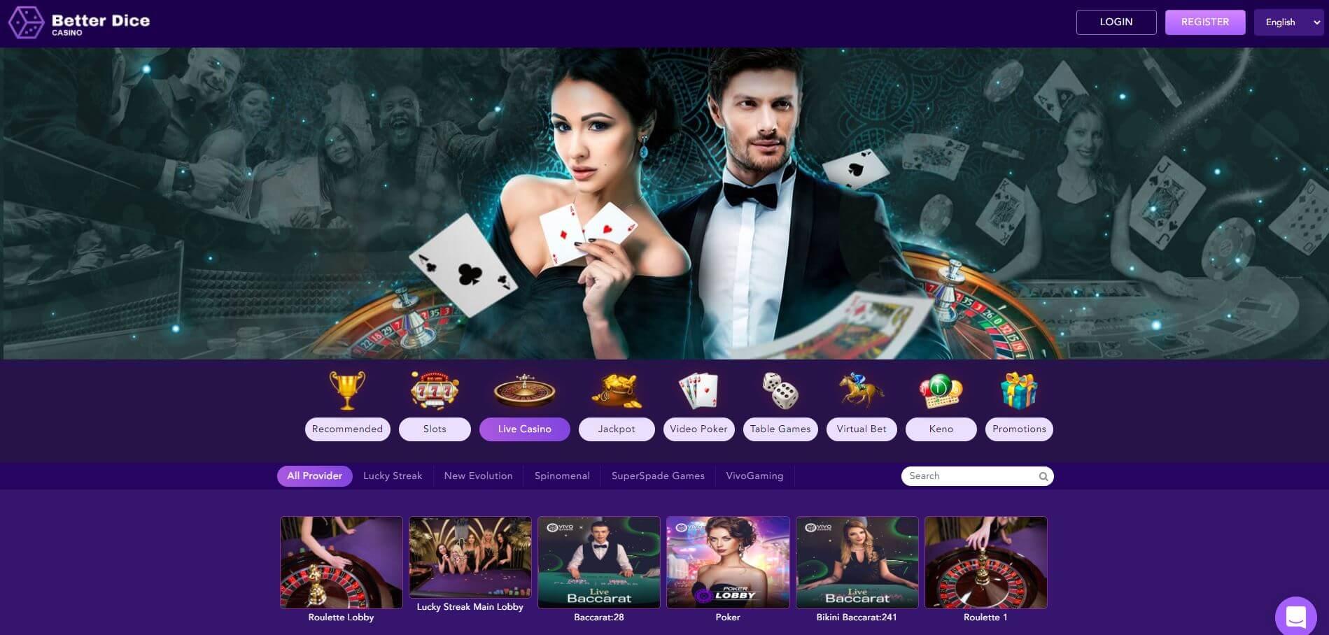 BetterDice Casino Live Casino