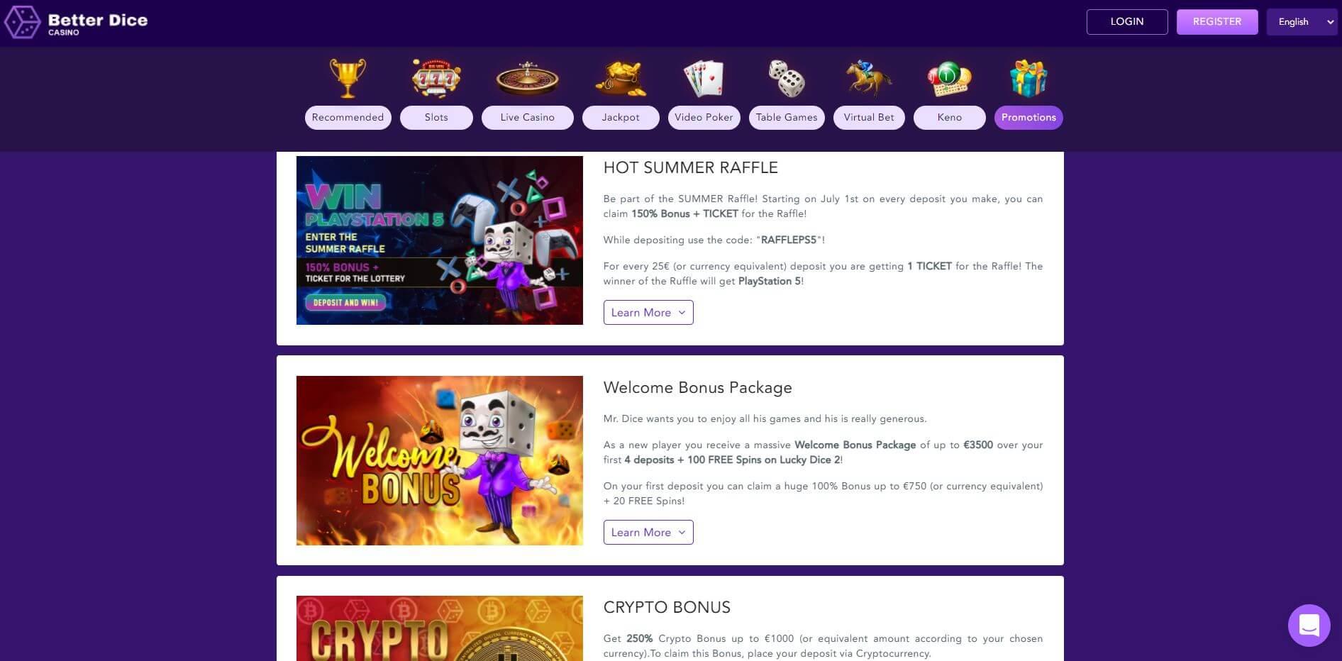 BetterDice Casino Promotions