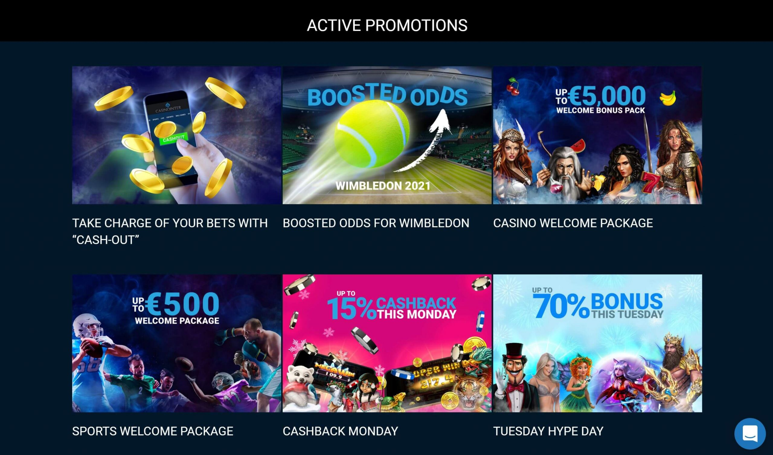 Casinointer Active Promotions