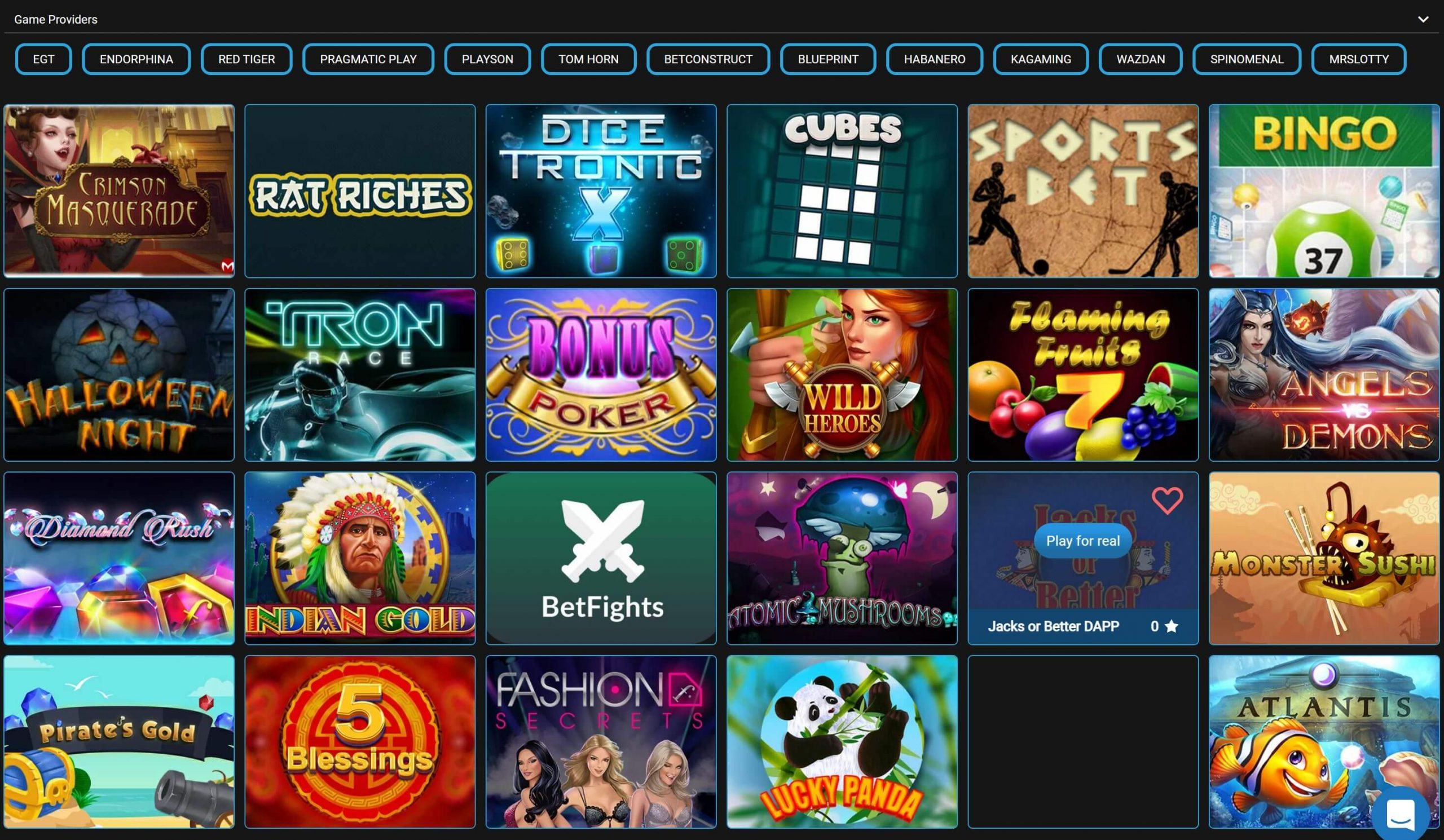 Casinointer Games