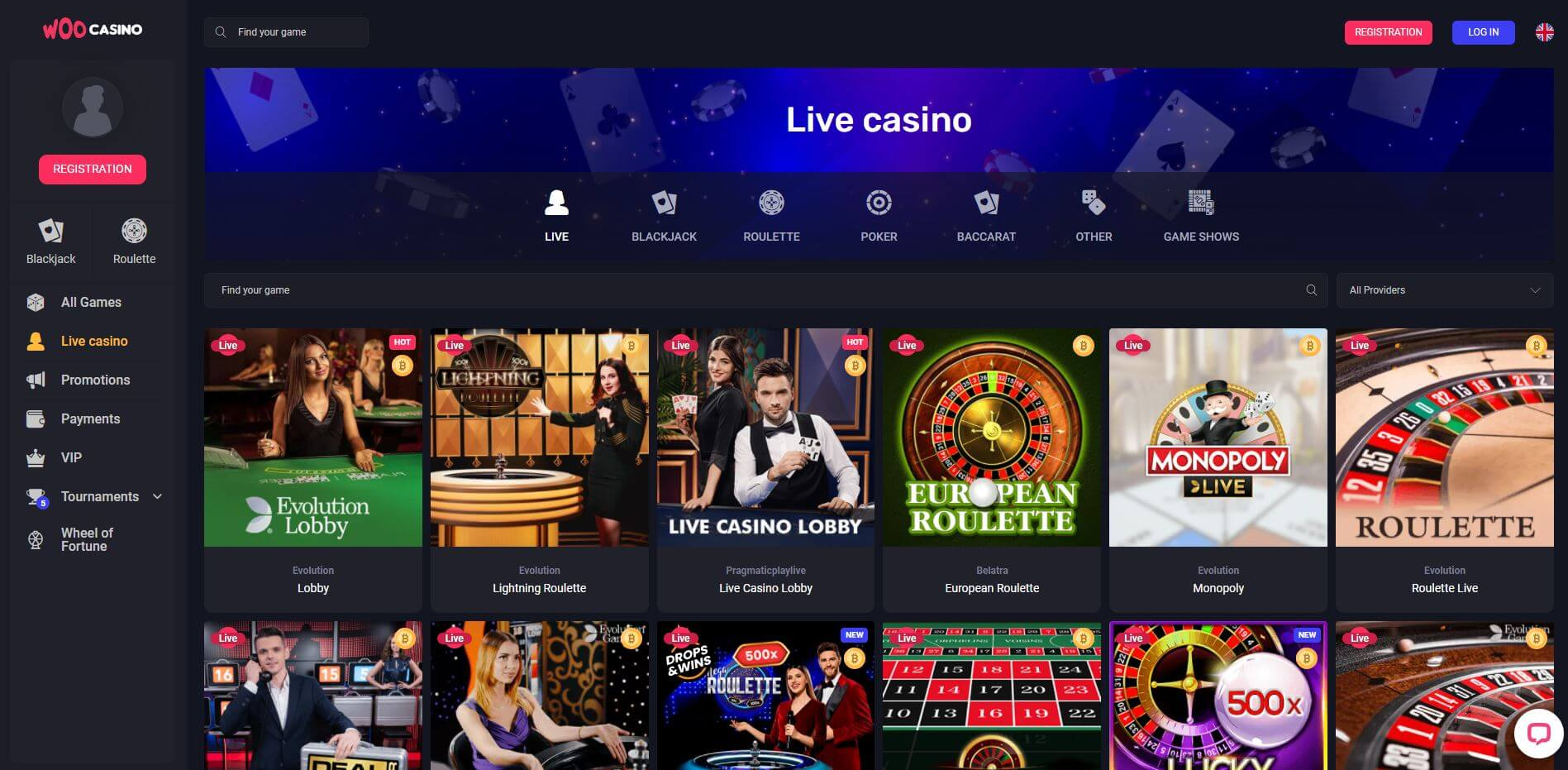 WooCasino Live Casino
