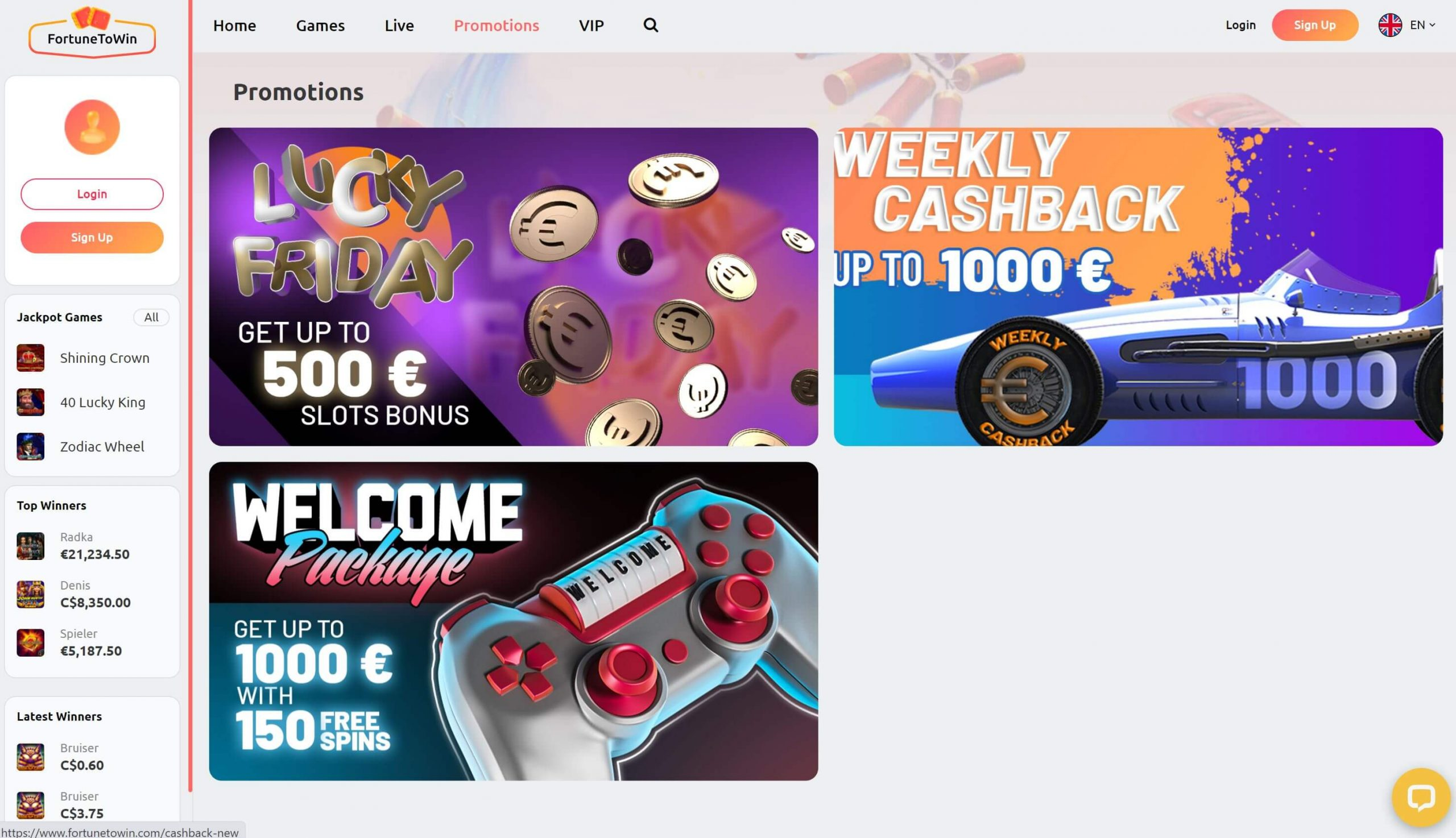 FortuneToWin Promotions
