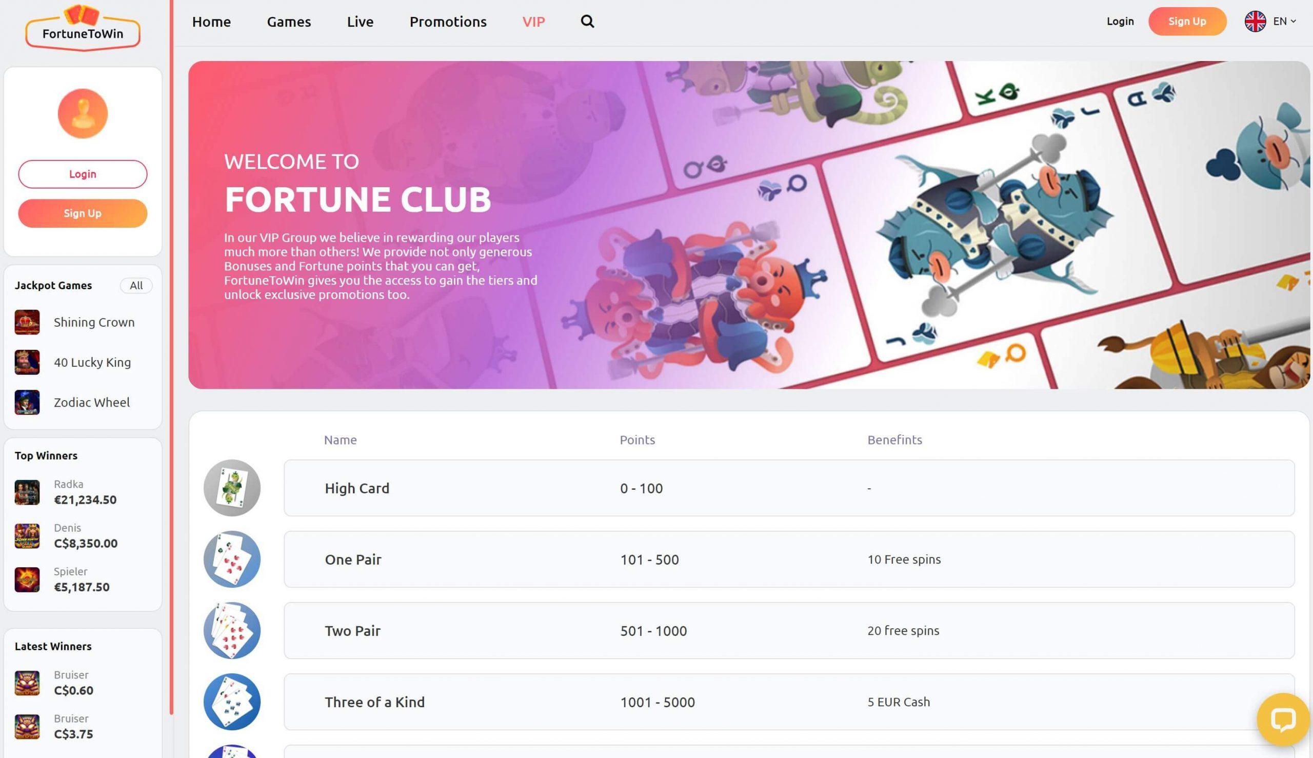 FortuneToWin VIP Club