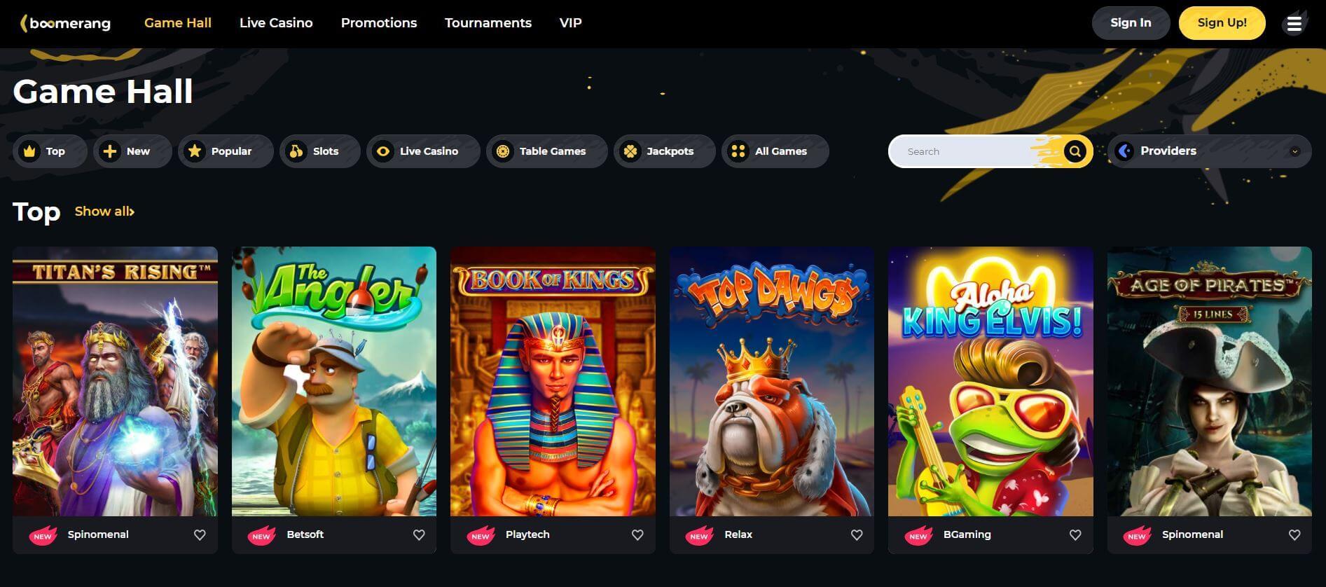 Boomerang Casino Gamehall