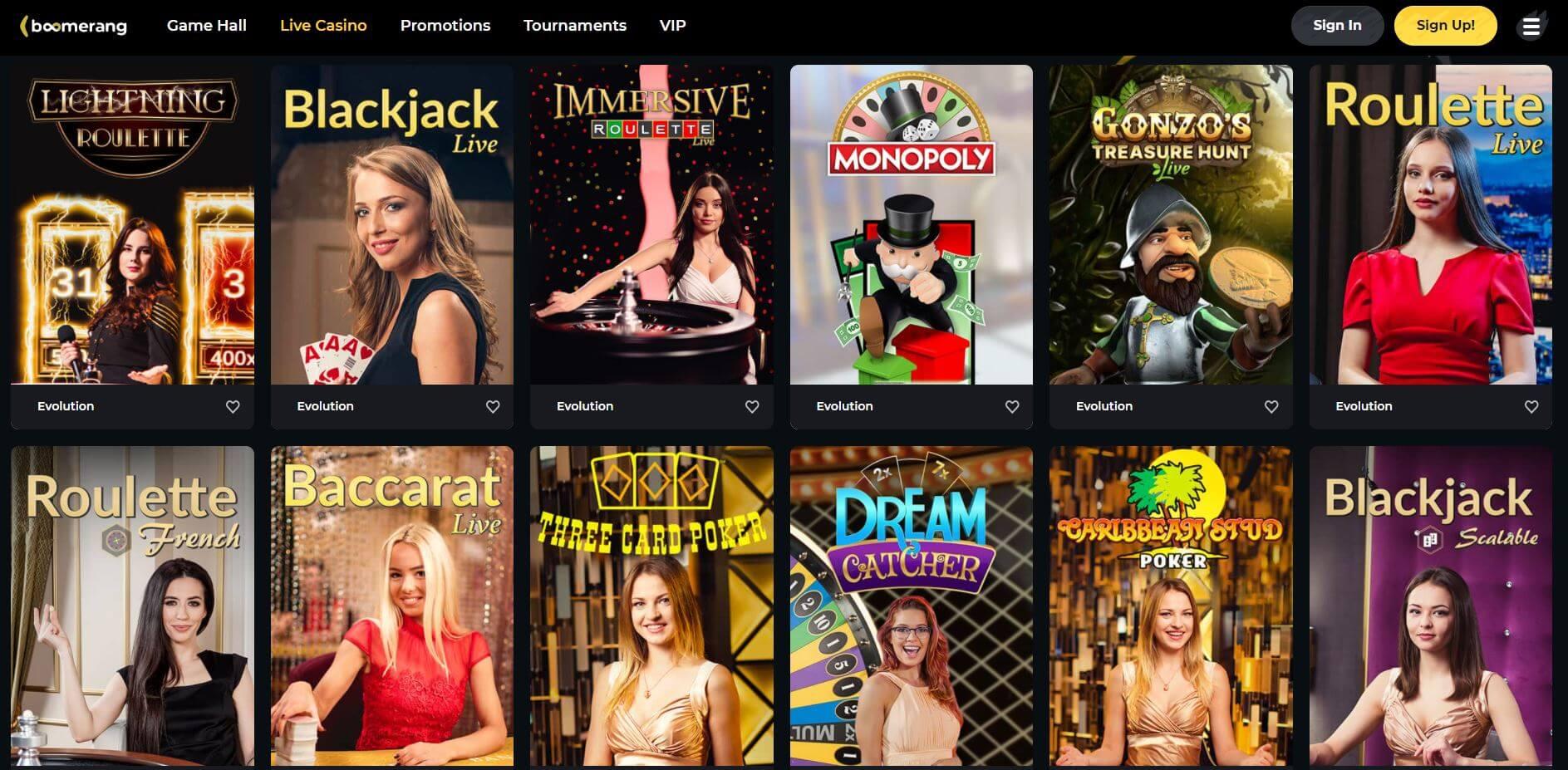Boomerang Casino Live Casino