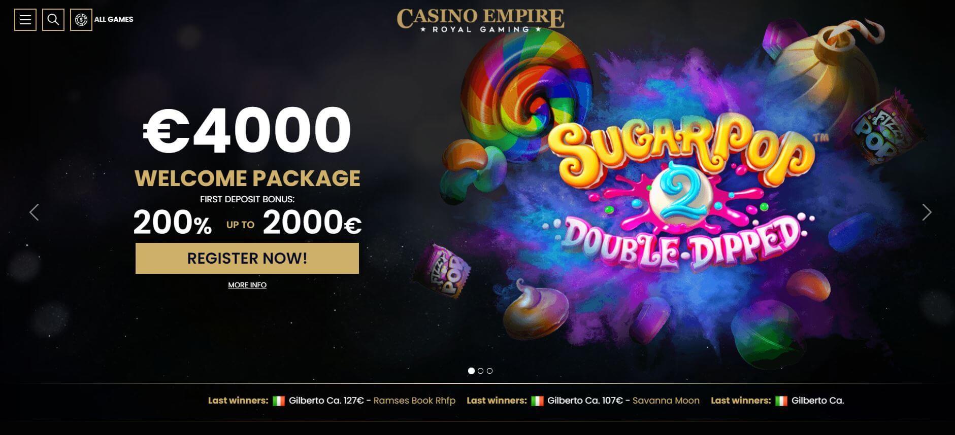 Casino Empire Homepage