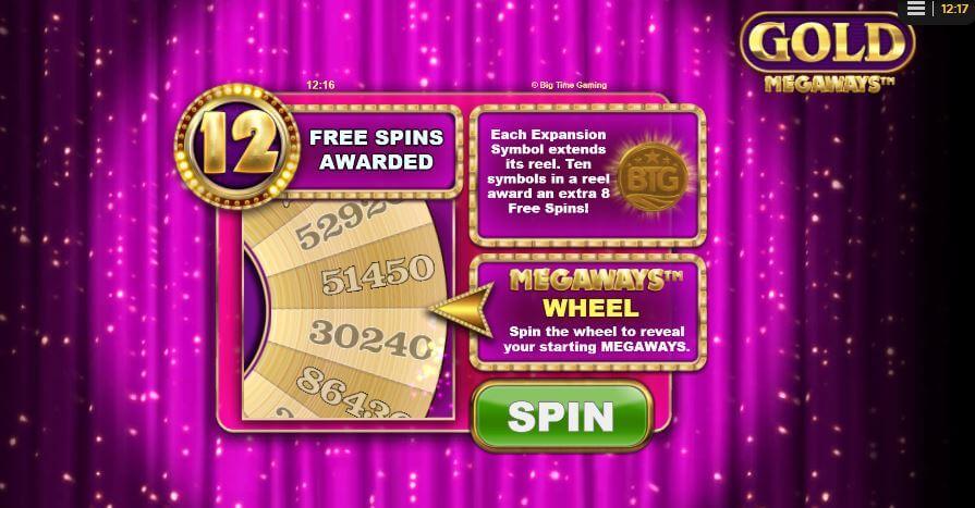 Gold Megaways Wheel Bonus